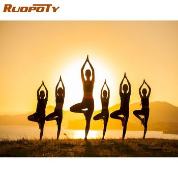 RUOPOTY 60x75cm Oil Picture By Numbers For Adults Children Women Yoga Paints By Number Diy Gift Home Living Room Wall Decor