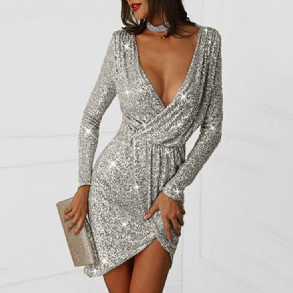 sexy short dresses long sleeves glitter women deep-v mini dresses with sequins sexy dresses club dress long sleeve ropa mujer #3