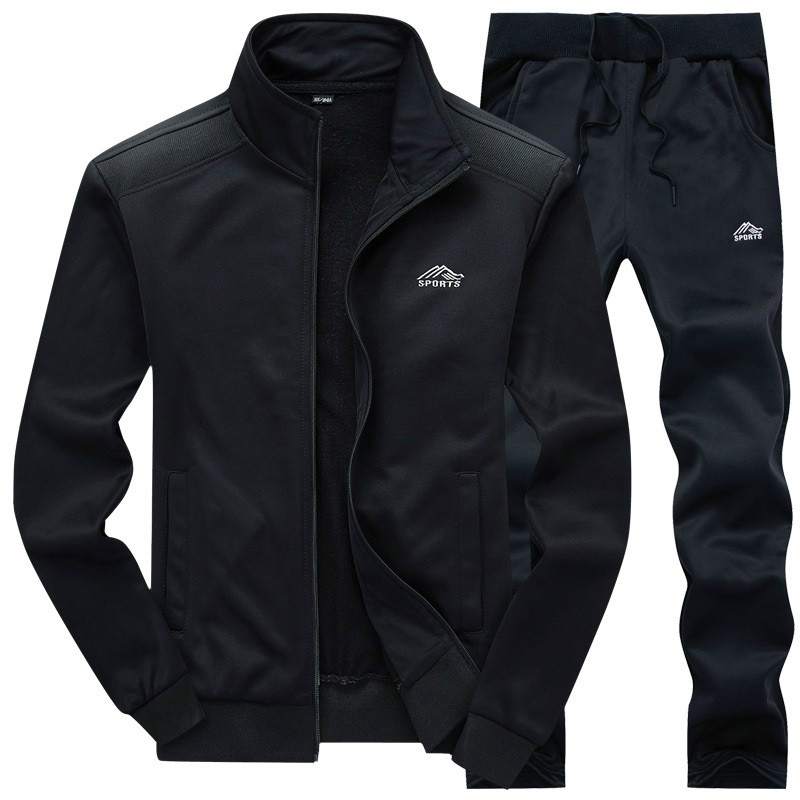 Tracksuits Men 's Polyester Sweatshirt Sporting Fleece Gyms Spring Jacket Pants Casual Track Suit Sportswear Fitness