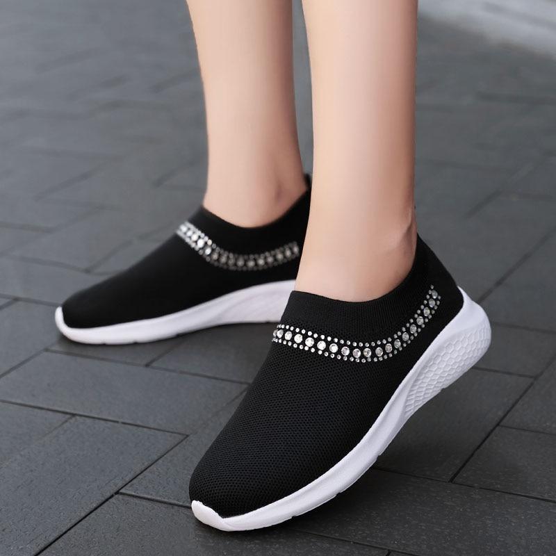 Damyuan Women's Flats Shoes Slip-on Sock Sneakers Slip on Sneakers Comfortable Breathable Ladies Mesh Fashion Footwear Autumn
