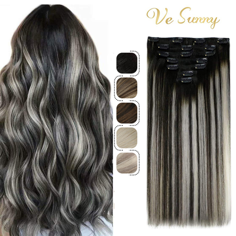 VeSunny Hair Extensions Clip in Human Hair Extensions Black Hair Off Black to Silver Grey Highlight Remy Clip in Hair Extensions