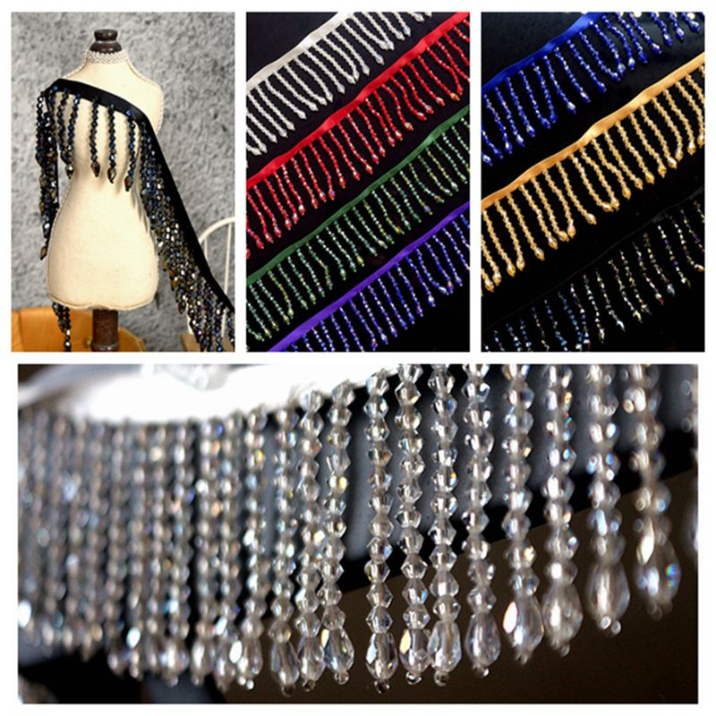 2meters high grade crystal tassel trimming curtain tassel trims african lace for diy clothing sewing wide 5 5cm tassel lace trim