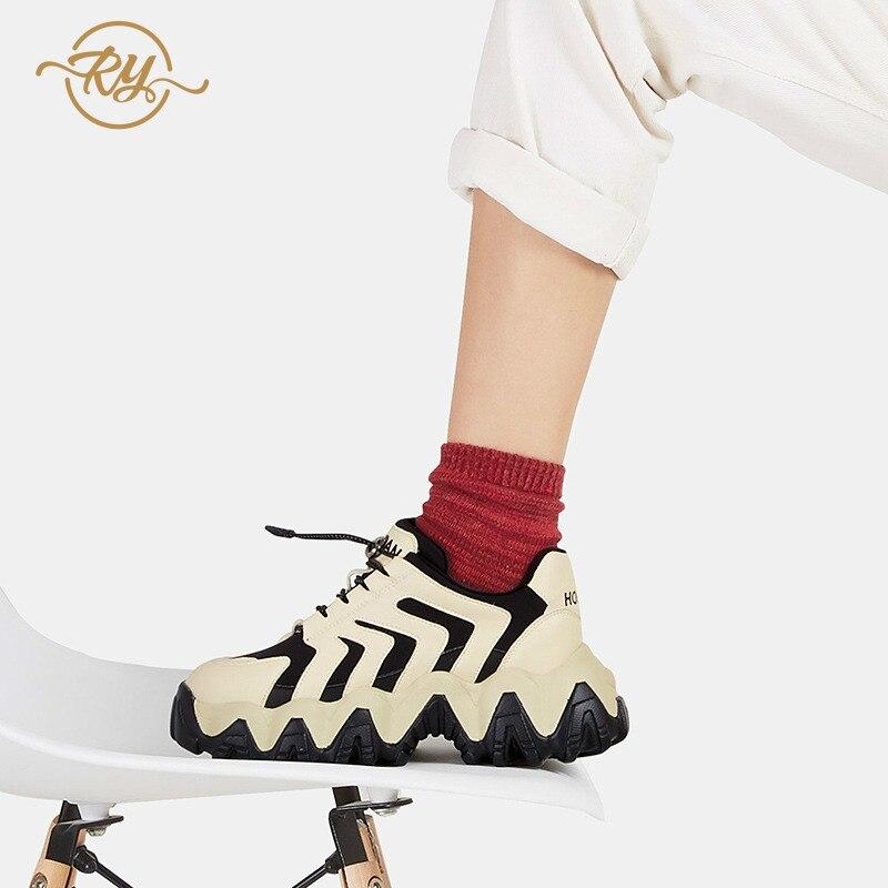 RY rella2019 automne et hiver nouvelles chaussures fumées intelligentes Hong Kong style chaussures décontractées femmes rue coup fond épais chaussures décontractées - 5