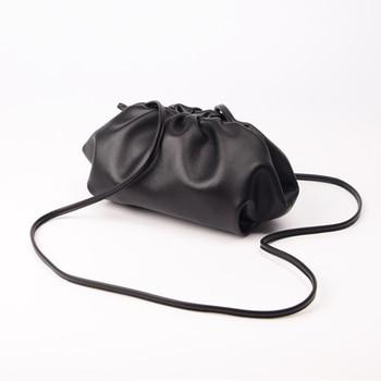brand Designer Cloud small bag women Genuine Leather Handbags Ladies Pleated hand bags Woman shoulder Messenger bag clutch purse