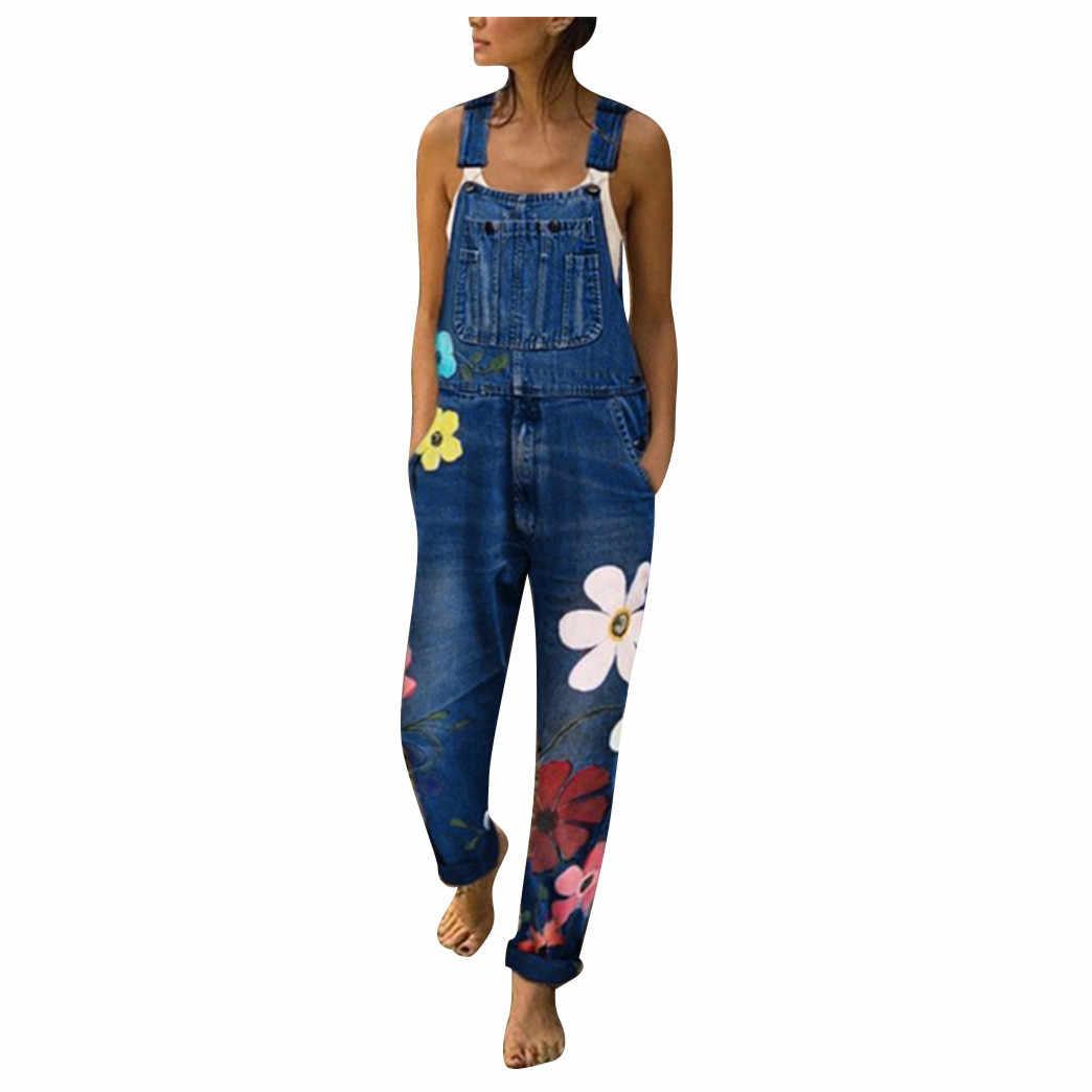 Spodnie dżinsowe kombinezony kwiat niebieski nadruk dżinsy Romper dla kobiet 2020 moda letnia spodnie na szelkach Sexy długie kombinezony kombinezony jeans