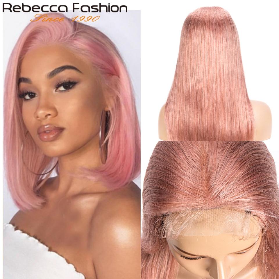 Rebecca rosa peruca cabelo liso, cabelo humano brasileiro transparente 4x4 peruca de fechamento 150%
