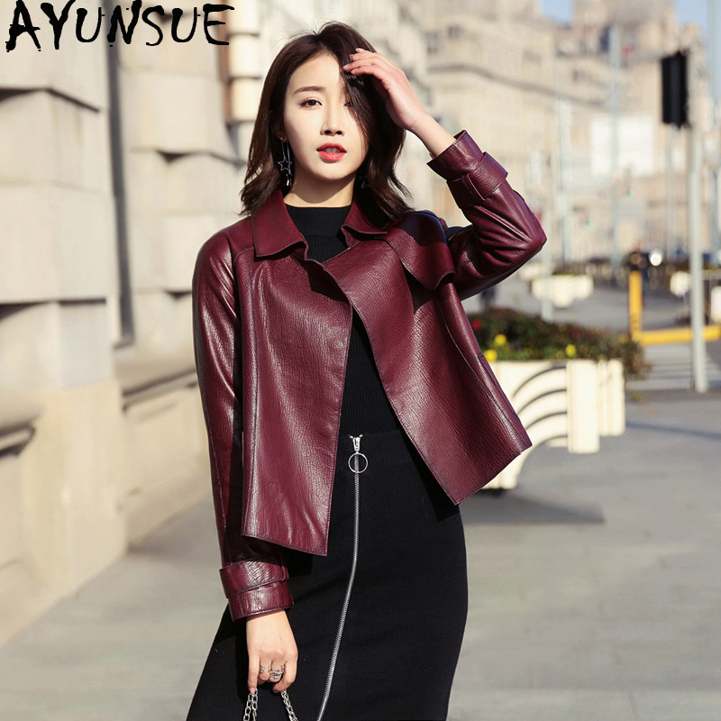 AYUNSUE Genuine Leather Jacket Spring Autumn Jacket Women 100% Real Sheepskin Coat Female Korean Bomber Jackets Chaqueta Mujer