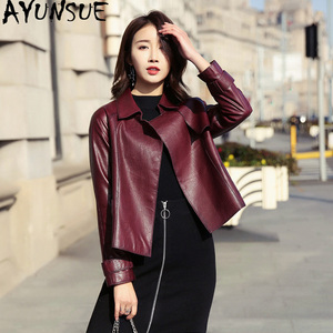 Image 1 - Ayunsue本革ジャケット春秋のジャケットの女性100% 本物のシープスキンのコート女性韓国ボンバージャケットチャケータmujer