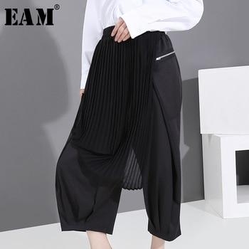 [EAM] High Elastic Waist Black Pleated Chiffon Wide Leg Trousers New Loose Fit Pants Women Fashion Tide Spring Autumn 2020 1T353