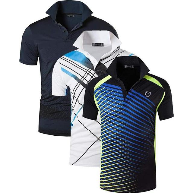 Jeansian 3 חבילת גברים של ספורט טי פולו חולצות POLOS Poloshirts גולף טניס בדמינטון יבש Fit קצר שרוול LSL195 PackF