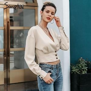 Image 2 - Simplee אלגנטי v צוואר נשים חולצה חולצה ארוך שרוול כפתור נקבה למעלה חולצה סתיו מזדמן streetwear גבירותיי חולצה חולצה 2019