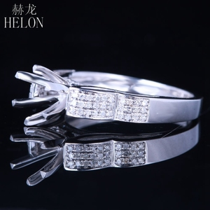 Image 4 - HELON 6mm Round Sterling Silver 925 White Gold Color 0.3CT Natural Diamonds Semi Mount Ring Engagement Classic Fine Jewelry Ring