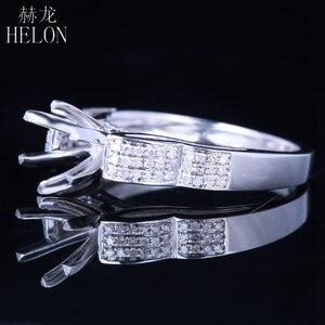 Image 4 - HELON 6mm redondo Plata de Ley 925 oro blanco Color 0,3ct diamantes naturales Semi montaje Anillo Compromiso clásico anillo de joyería fina