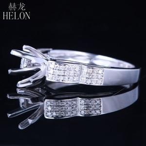 Image 4 - Helon 6mm 라운드 스털링 실버 925 화이트 골드 컬러 0.3ct 천연 다이아몬드 세미 마운트 링 약혼 클래식 파인 쥬얼리 링