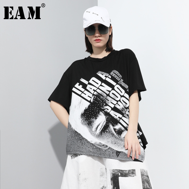 [EAM] Women Black Rhinestone Letter Irregular Big Size T-shirt New Round Neck Half Sleeve  Fashion Spring Summer 2020 1T886
