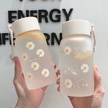 Korean Ins Cute Daisy Glass Frosted High Temperature Resistant Cups with Rope 500ml Large Capacity T