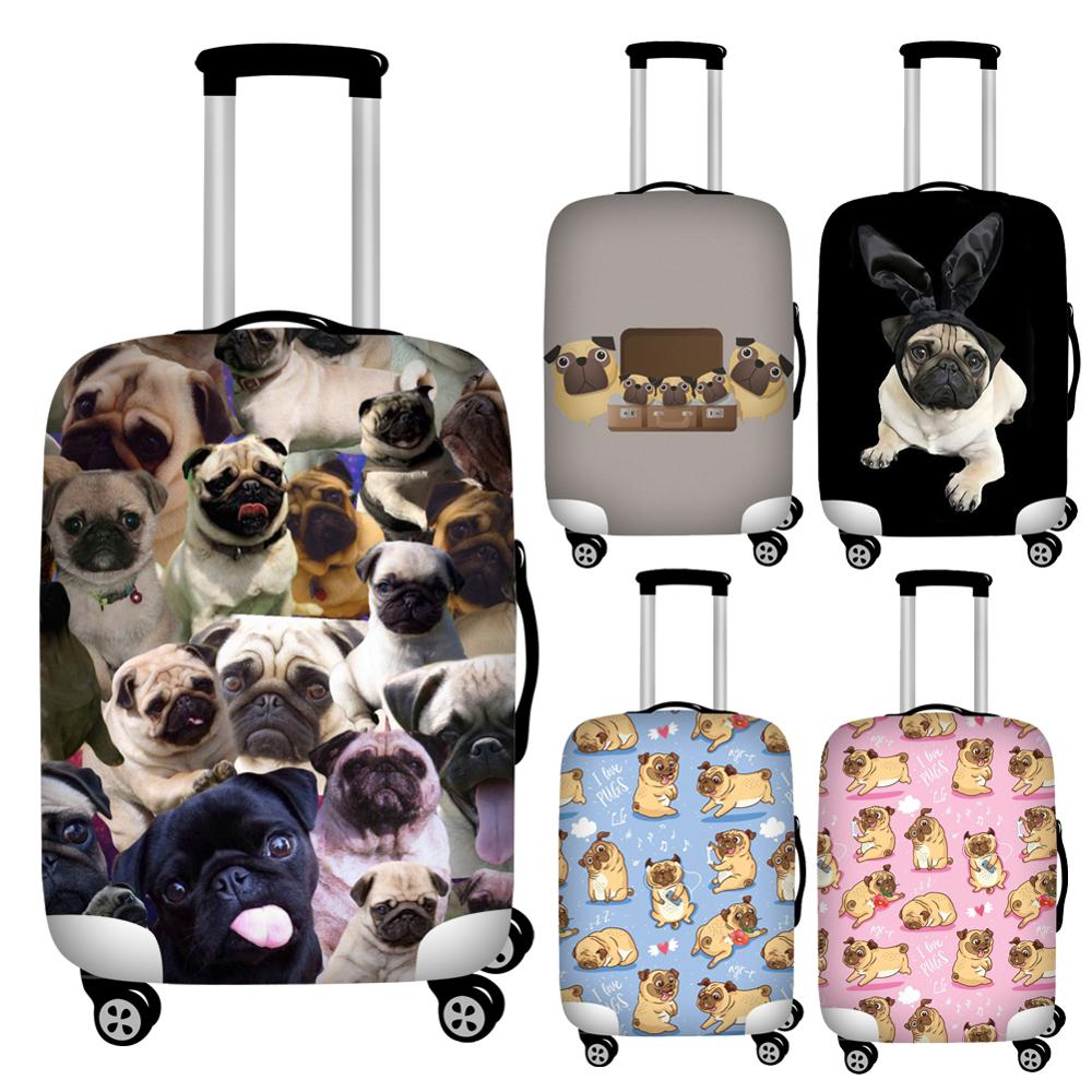 Twoheartsgirl Cute Puppy Pug Dog Print Suitcase Cover Zipper 18-32inch Travel Luggage Protective Dust Cover Travel Accessories