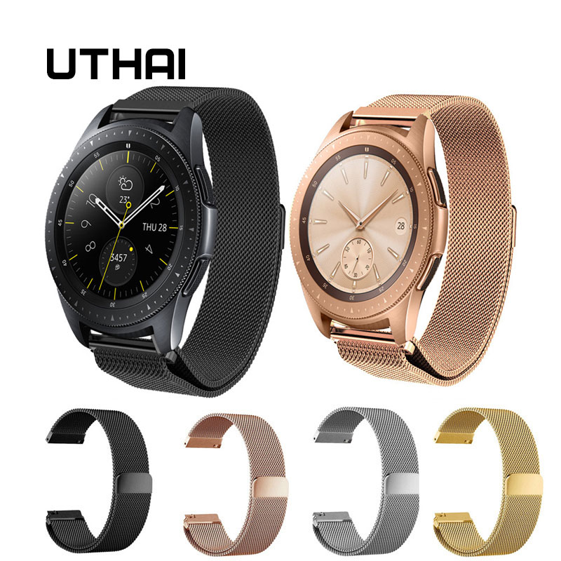 UTHAI P48 20mm 22mm Stainless Steel Strap For Samsung Galaxy Watch 42mm 46mm Milanese Wristband Metal Magnetic Release Watchband