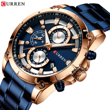 CURREN Blue Golden Men Sports Quartz Watch Fashion Business 3 Sub Dial Date Stopwatch Function Steel Band Watches Relojes Hombre