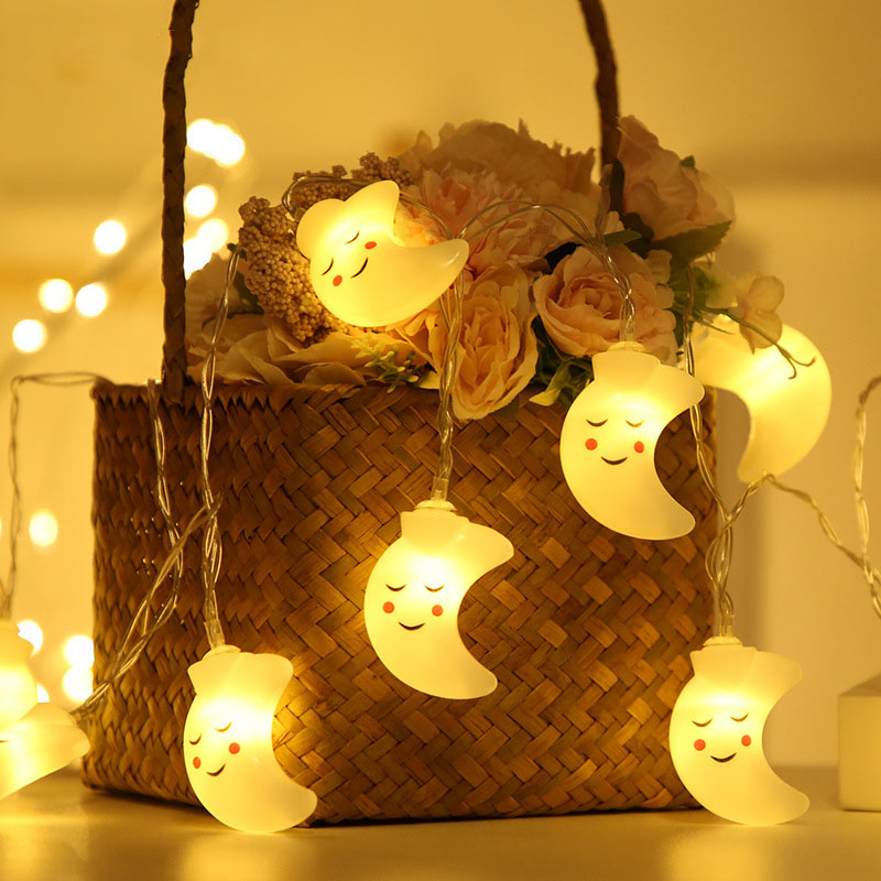 1.5M 20LED Smiling Face Moon String Lights Christmas Fairy Garlands Outdoor Battery Flash For Holiday Xmas Party Garden Decor