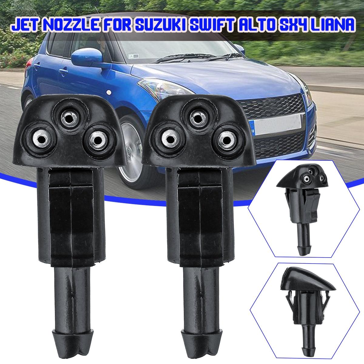 2X Car Windshield Washer Wiper Water Jet Nozzle Inlet Push For Suzuki Swift Alto SX4