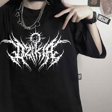 Koreanischen stil Casual kurze drucken kpop punk vintage gothic sommer Harajuku verlieren tops Hip Hop schwarz frauen T-shirts top wir