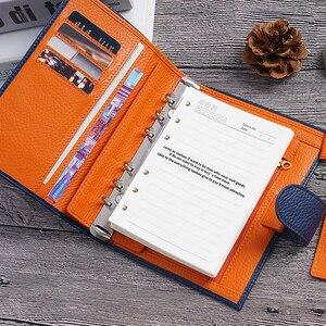 Image 5 - Lederen Notebook A6 Size Planner Litchi Grain Organisator Ringen Bindmiddel Cover Dagboek Dagboek Schetsboek Agenda Grote Pocket