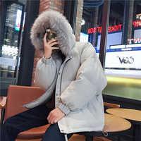 Giacca invernale Degli Uomini di Modo Caldo di Colore Solido Casual Collo di Pelliccia Con Cappuccio Parka Cappotti del Rivestimento Streetwear Cotone Sciolto Maschio Vestiti