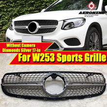 Fits For Mercedes W253 Front Grille grill Diamond style ABS Silver Without sign GLC class GLC250 GLC350 GLC400 look grills 17-in