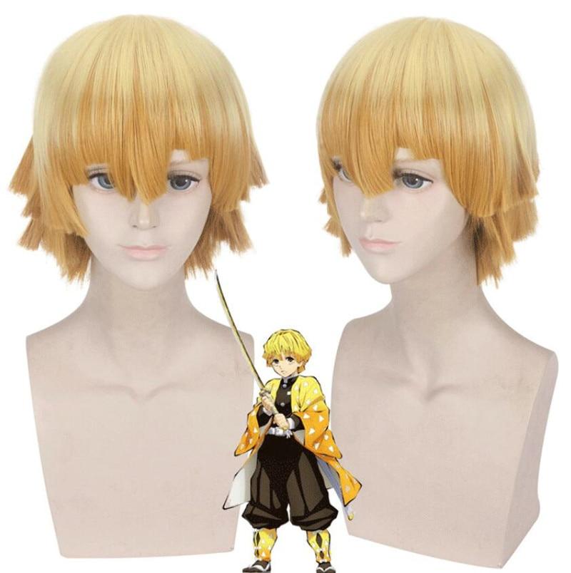 Agatsuma Zenitsu Wig Kimetsu No Yaiba Demon Slayer Cosplay Yellow Synthetic Heat Resistant Hair Agatsuma Zenitsu Cosplay Wig