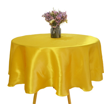 Round 145cm Satin Tablecloth Home Restaurant Table Cloth Tableware Cover Overlay Wedding Banquet Christmas Party Decoration image