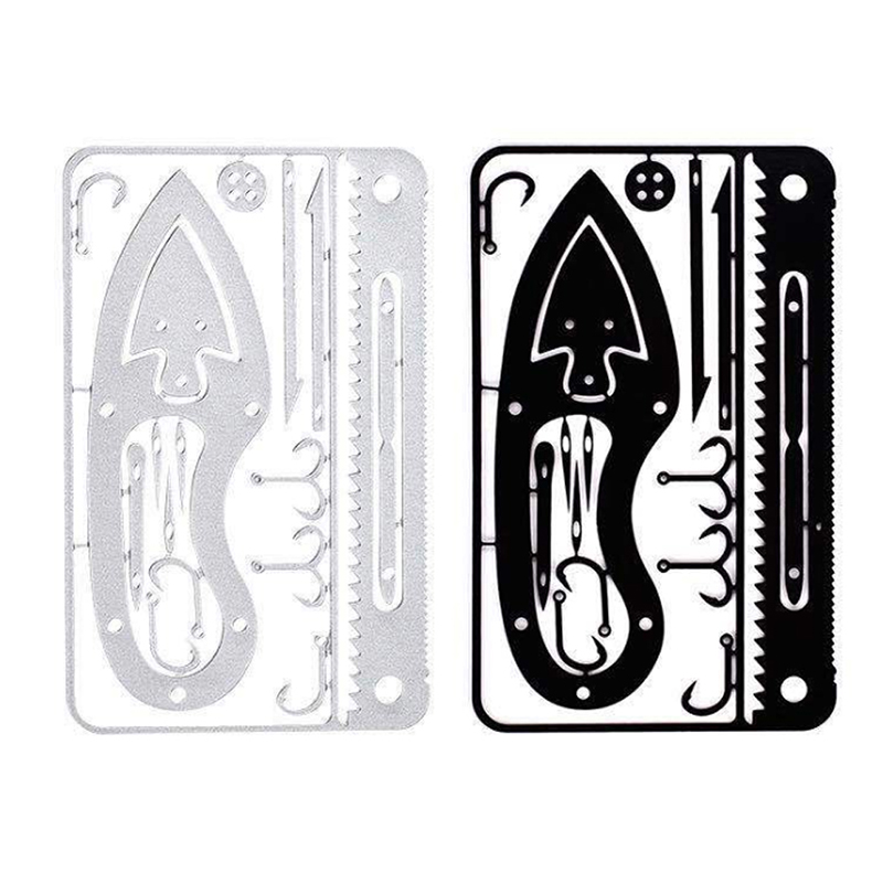Hot EDC 17 In 1 Fishing Gear Credit Card Multi Tool Outdoor Camping Equipment Survival Tools