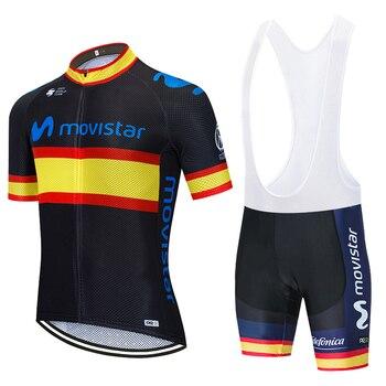 Maillot de equipo de Ciclismo del campeón movistar, traje de pantalones cortos...