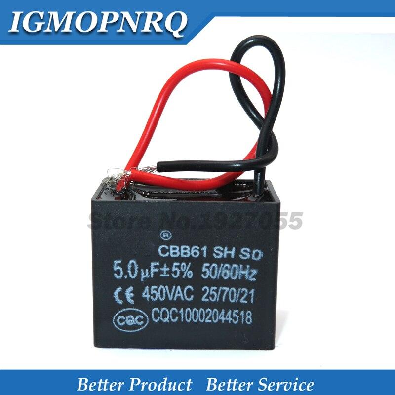 2pcs /lot CBB61 5uf Starting Capacitance AC Fan Capacitor 5uf 450V CBB Motor Run Capacitor High Quality