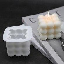 1 Pièces Carré Cube Moule À Bougie Cire De Soja Huile Essentielle Aromathérapie Bougie BRICOLAGE Nuage Forme Matériel De Bougie Cire 3D Moule En Silicone