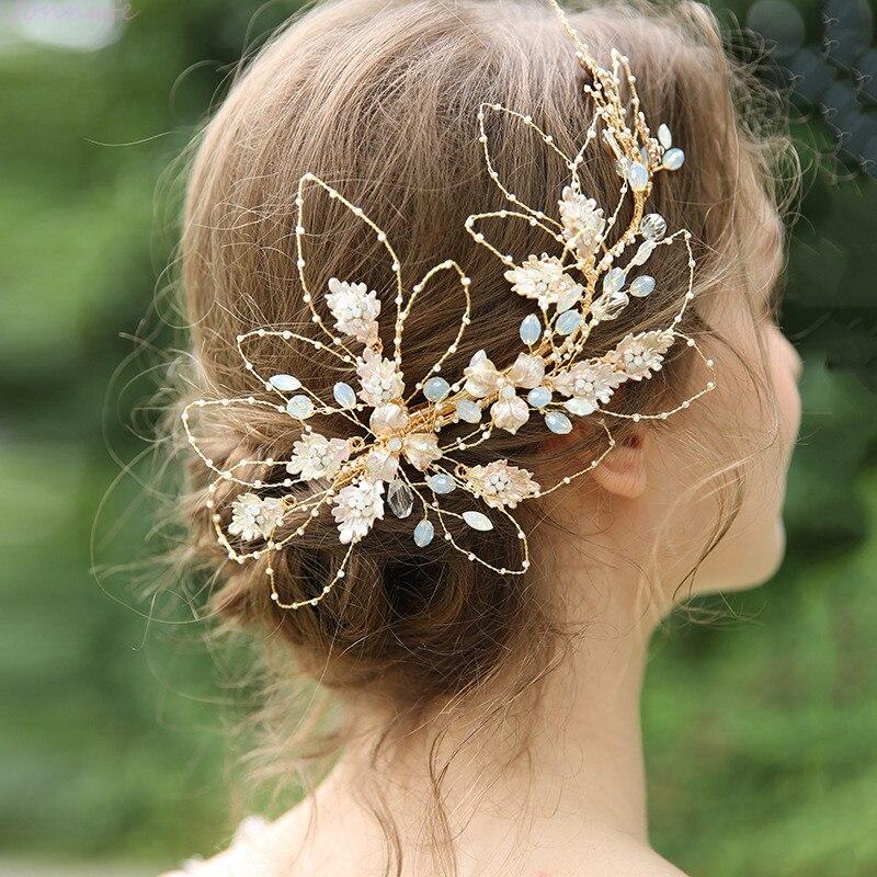 NPASON 2020 généreuse feuille d'or mariée cheveux couronne pince cristal femmes mariage bal cheveux pièce accessoires main filaire bijoux