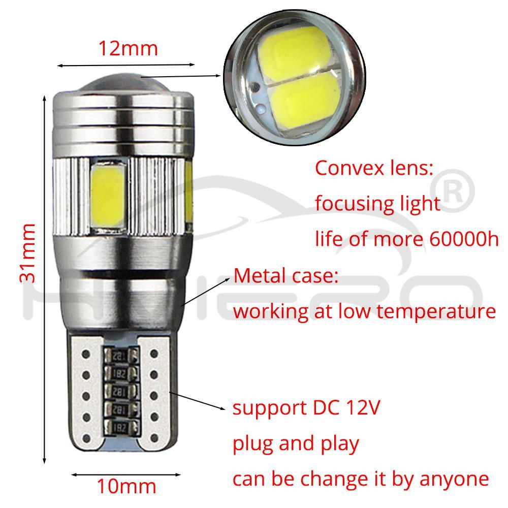 2X 3W T10 501 W5W 3030SMD HIGH POWER XENON WHITE LED NON-CANBUS  SIDELIGHT BULBS