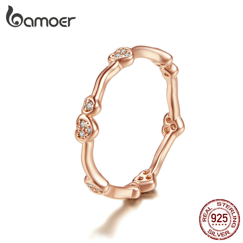 BAMOER Engagement Ring Heart Stackable Finger Rings For Women 925 Sterling Silver Crystal Bague Jewelry 2019 Bijoux SCR519