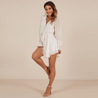 Loose Horn Long Sleeve V neck Chiffon Sexy Jumpsuit Fashion Casual Elegant Jumpsuits for Women summer White Bodysuit 2019