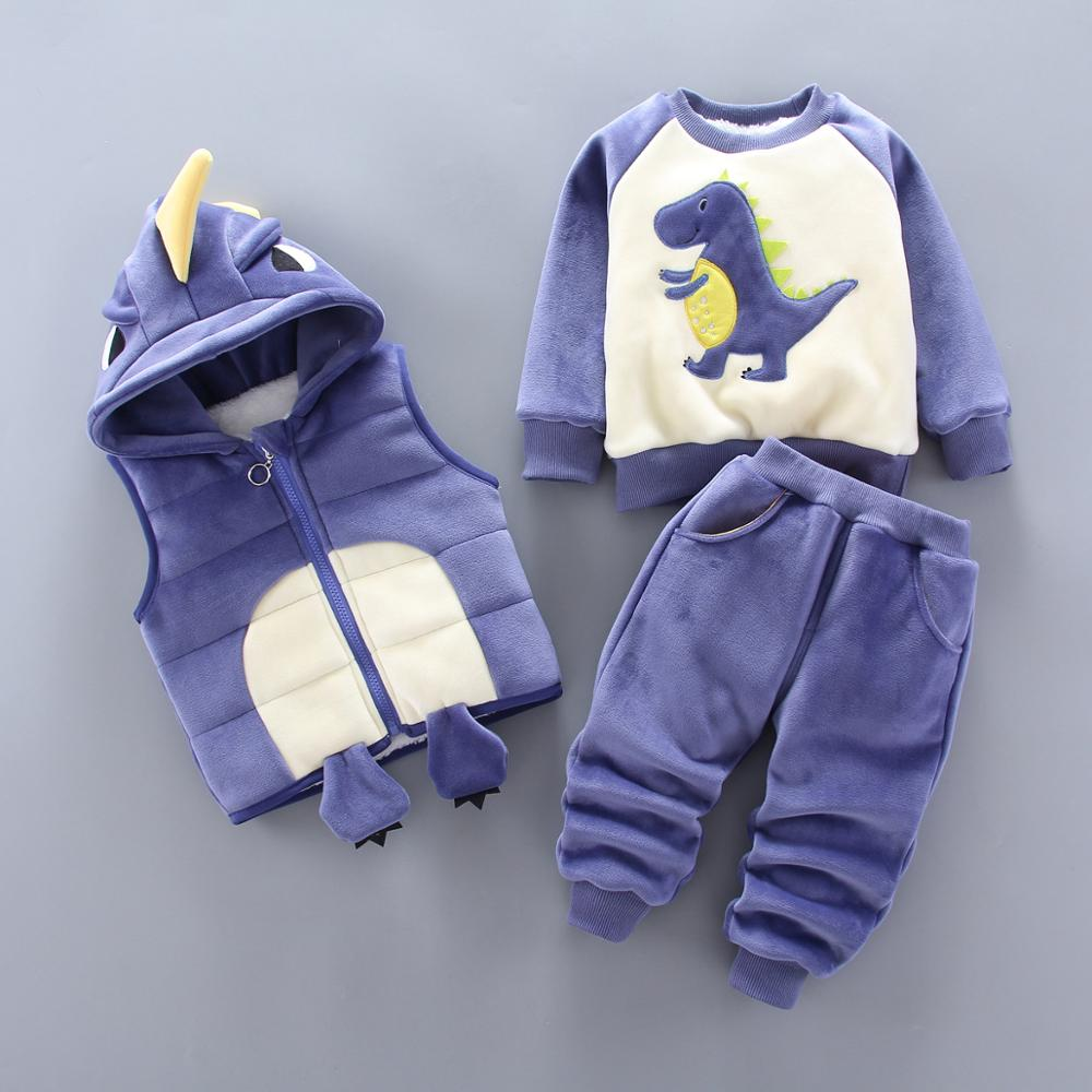 Baby boy's clothes winter warm clothes gold velvet bee cartoon print plus velvet thick sweater baby girl hooded vest 3 piece set 5
