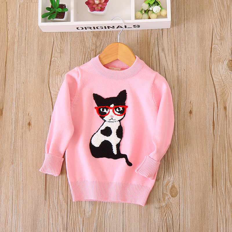 Bf-121 Fashion Cat Applique Crew Neck GIRL'S Sweater Children Pullover 2017 Autumn And Winter New Style Childrenswear