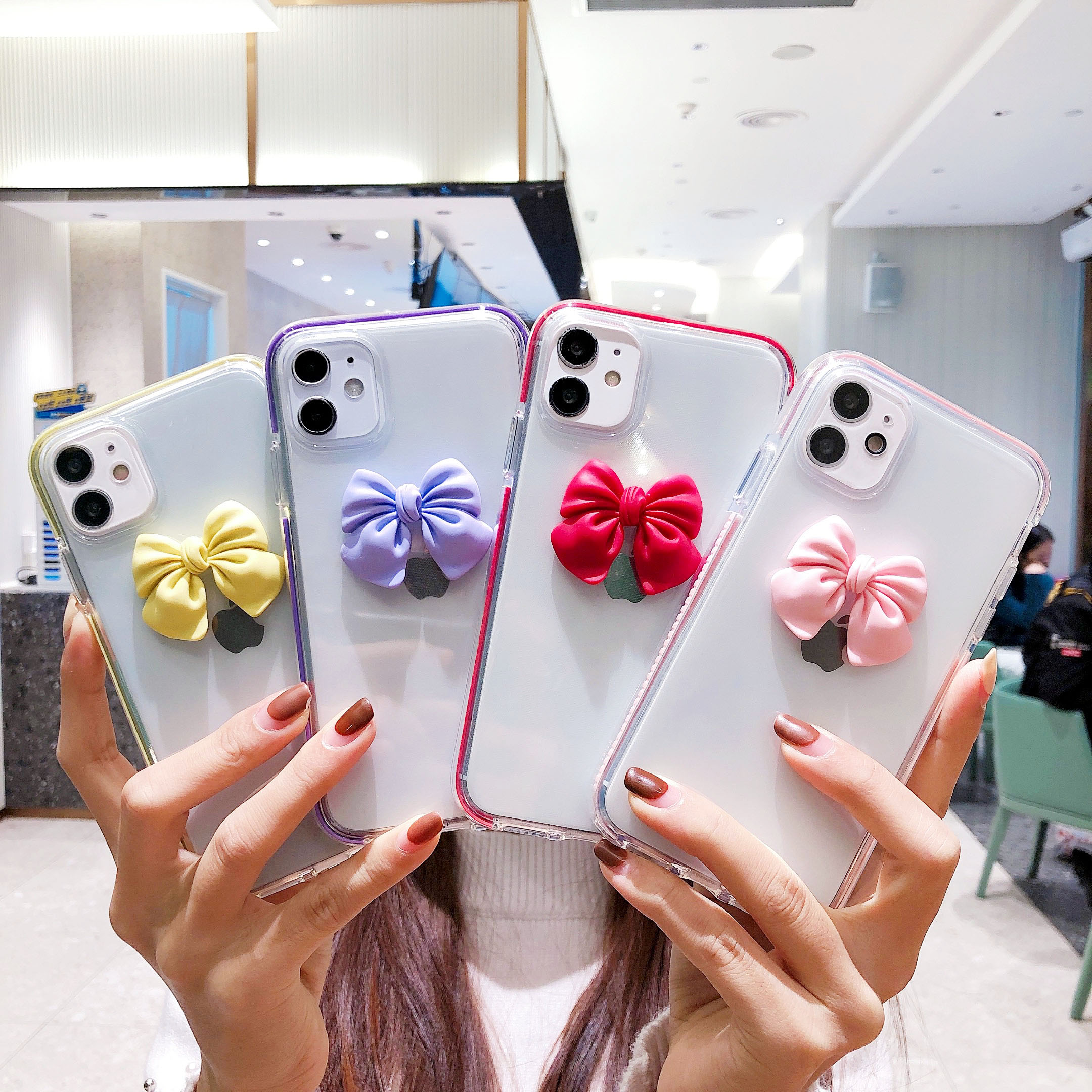 3D Bowknot Ins Phone Case For Iphone 12 Pro Max 11 11Pro Max XR XS 7 8 Plus SE Cute Anti-Fall Cute Fonda Cover