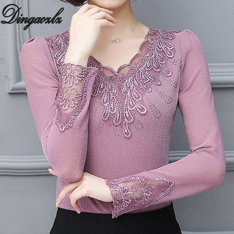 Dingaozlz L-5XL 2019 New Lace Tops V-collar Plus Size Shirt Fashion Women Clothing Patchwork Long Sleeve Diamond Mesh Blouse