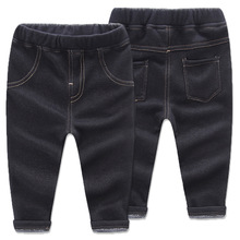 New 1-6 Years Girls Thick Jeans Pants For Winter Little Boys Long Trousers Korean Style Kids Warm Boy