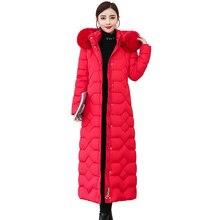 Plus size high quality women winter down jacket hooded real Fox fur collar X-lon