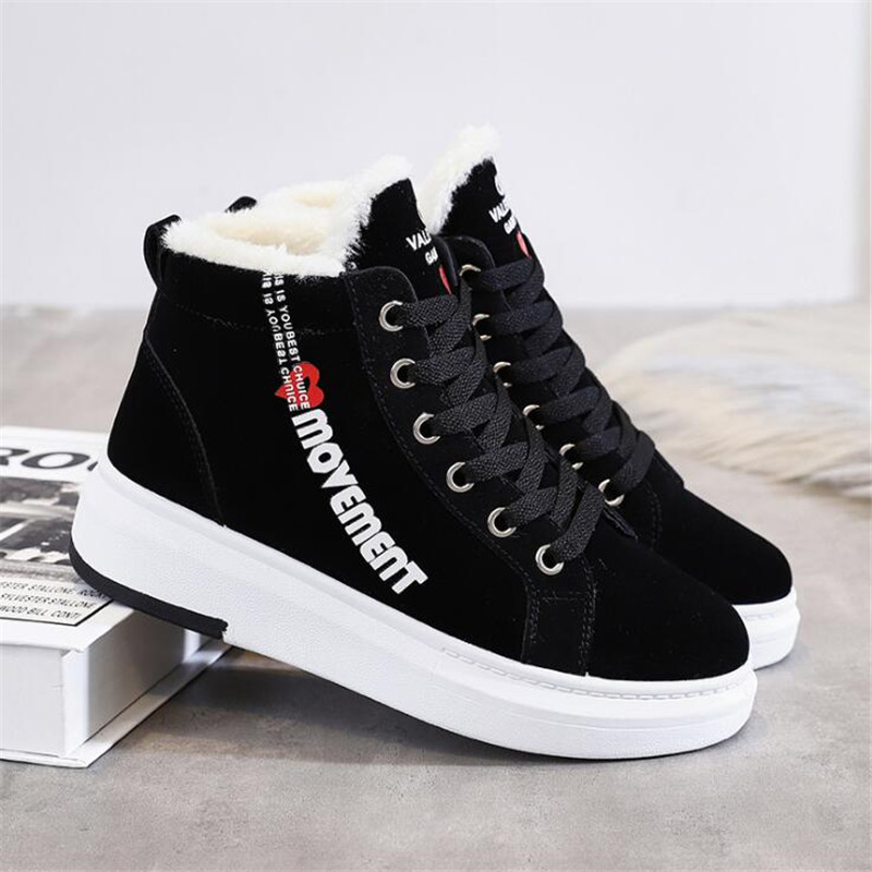 Cotton Shoes Female New Women's Boots 2019 Winter New Wild Warm Student Casual Shoes INS Thick High-Top Snow Boots 31