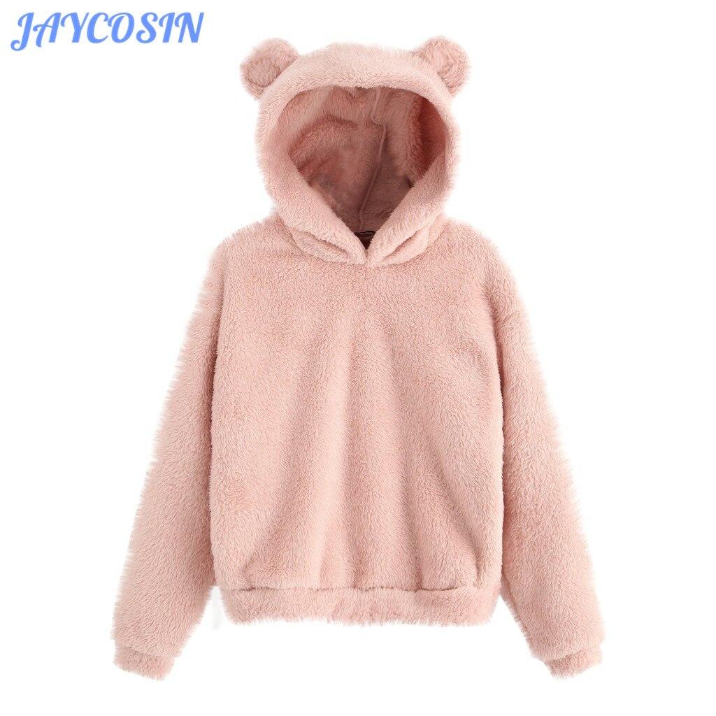 Одежда JAYCOSIN, женские осенне-зимние флисовые толстовки с длинным рукавом и свитшоты, женские теплые пушистые толстовки с ушками и медведем, ...