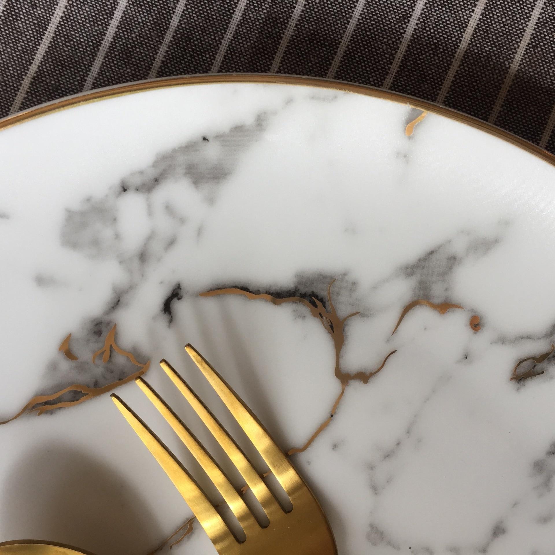 Lekoch assiette à Dessert en porcelaine   4 pièces assiette à dîner motif marbre, vaisselle en céramique assiette à Steak, salade Snack - 4