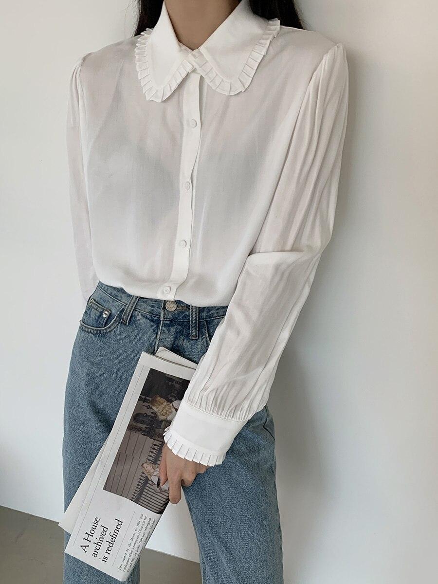 Ha22da5270da74fa2b1b1e15709456c8b0 - Spring / Autumn Korean Frilled Turn-Down Collar Long Sleeves One-Button Cuffs Solid Blouse