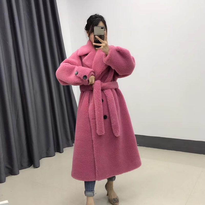 2019 BFFUR Women's Woolen Blends Long Jacket With Belt Real Fur Coat Lapel Collar Female Warm Winter Affordable Pocket Coat